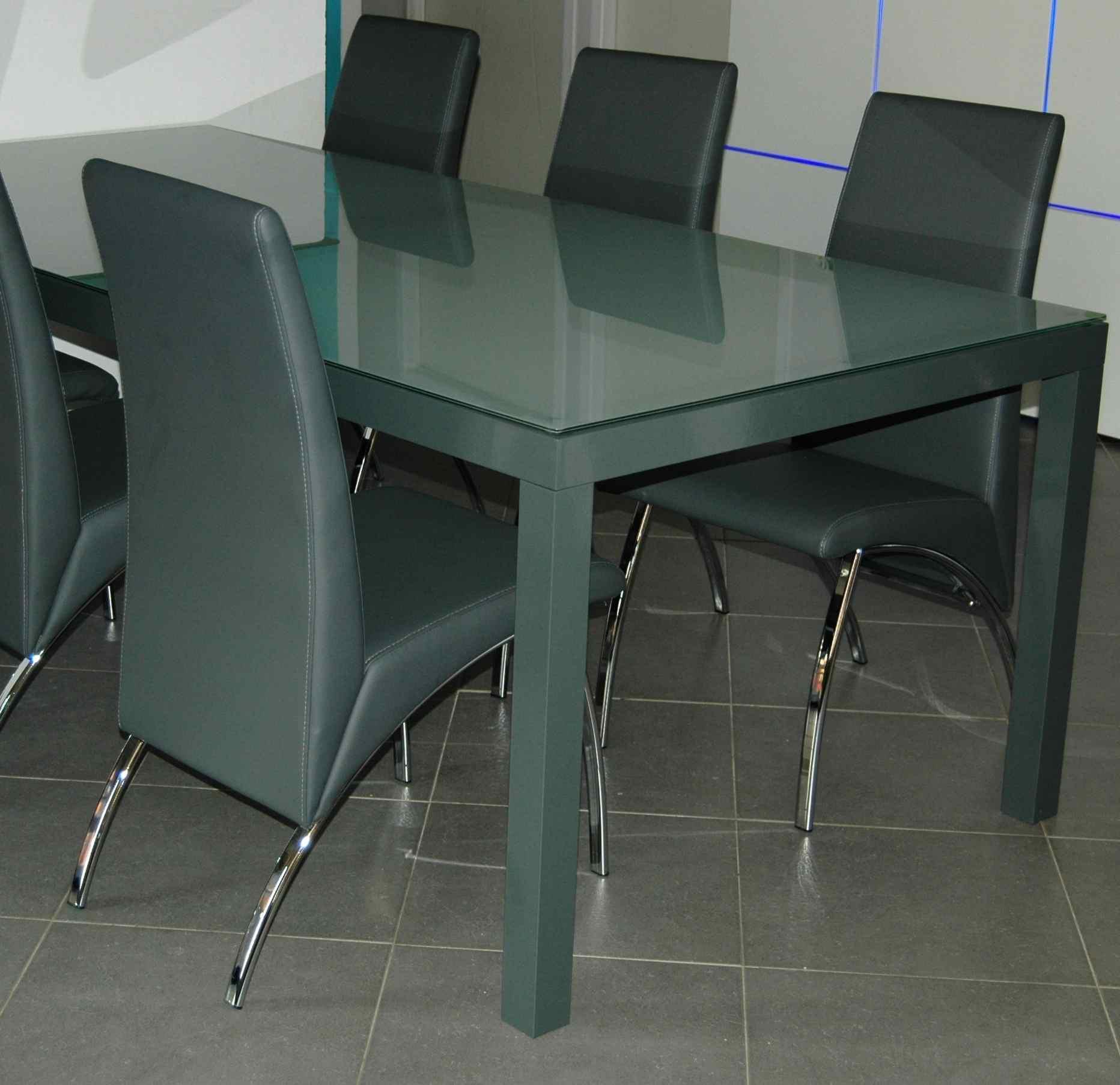 Table en aluminium avec plateau en verre Opale