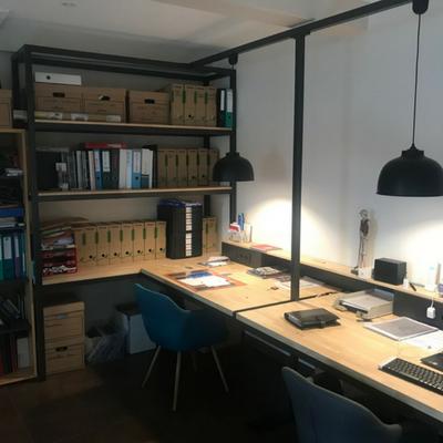 Bureau et étagère en acier et bois - Valence