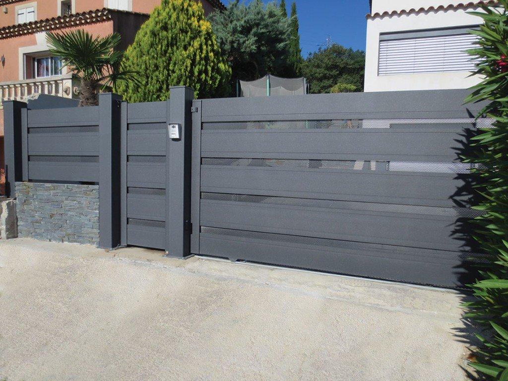 Portails sur mesure sg concept - Porte de garage avec portillon integre leroy merlin ...