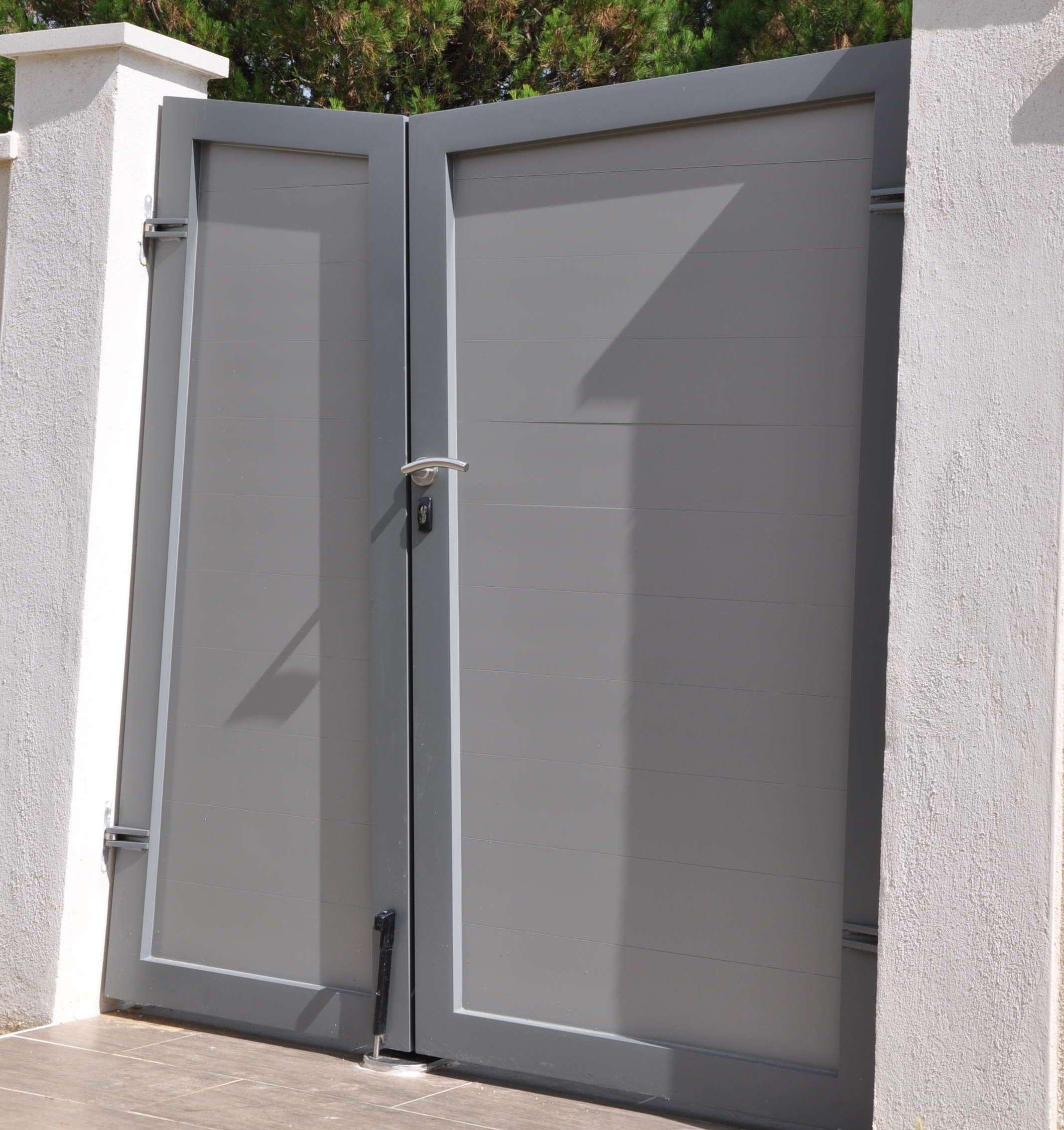 Portail deux battants en aluminium 1.8m - peinture carosserie couleur au choix - vue intérieure