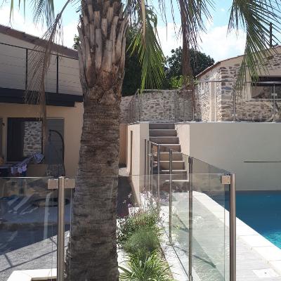 Barrière de piscine Espenel en inox et verre feuilleté 55/2